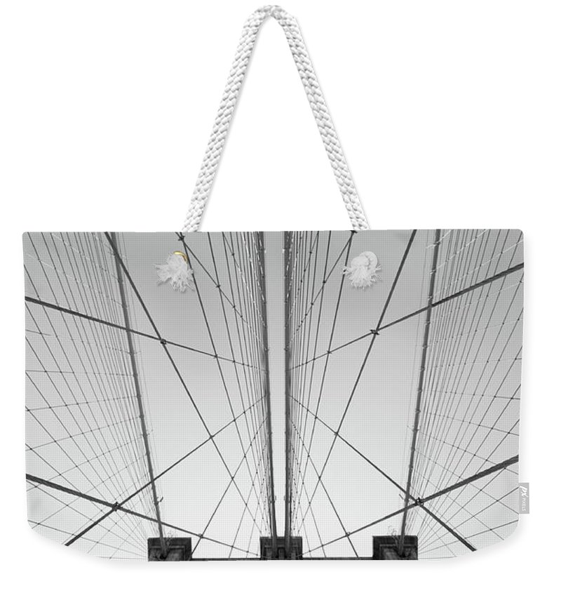 Arch Weekender Tote Bag featuring the photograph Brooklyn Bridge by Jimschemel