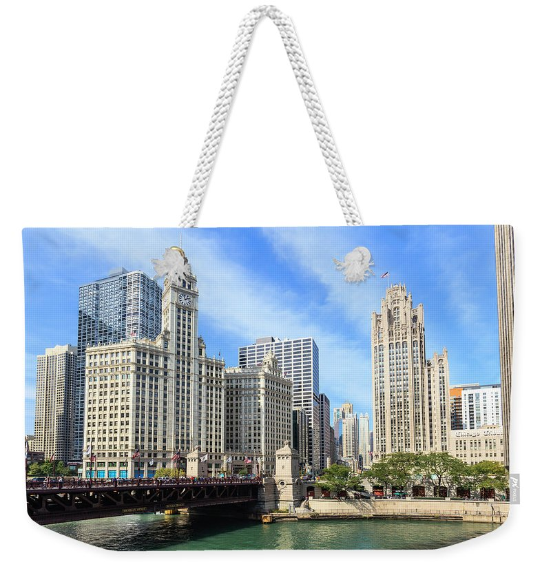 Downtown District Weekender Tote Bag featuring the photograph Buildings By The Chicago River, Chicago by Fraser Hall