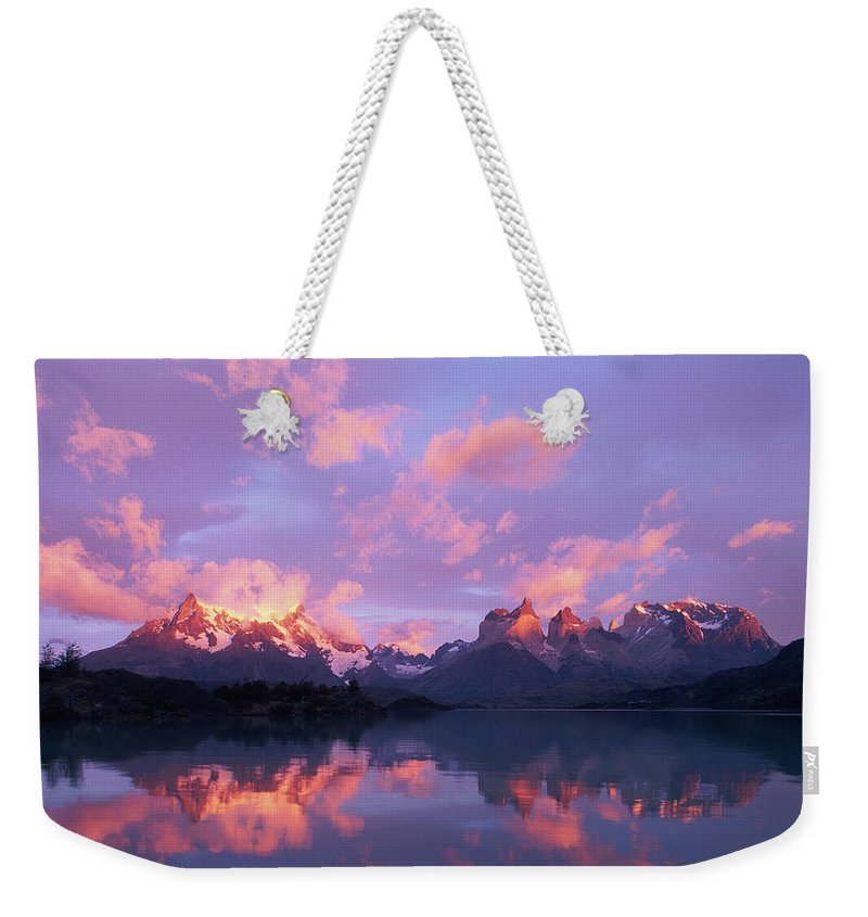 Scenics Weekender Tote Bag featuring the photograph Chile, Patagonia, Torres Del Paine Np by Paul Souders