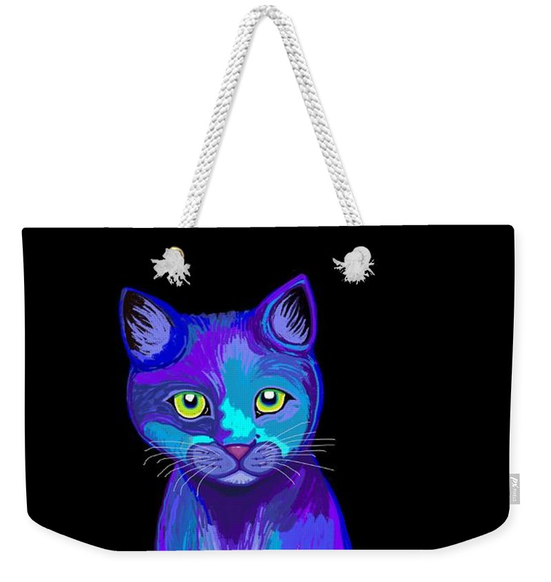 Cat Weekender Tote Bag featuring the digital art Colorful Calico Cat by Nick Gustafson