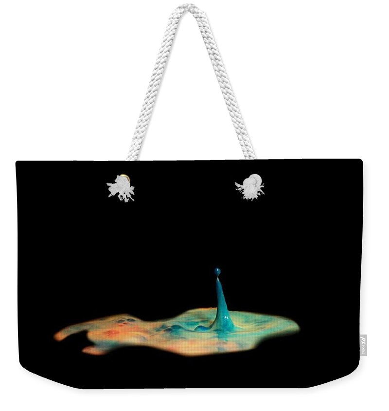 Weekender Tote Bag featuring the photograph Drop by Photo Crane