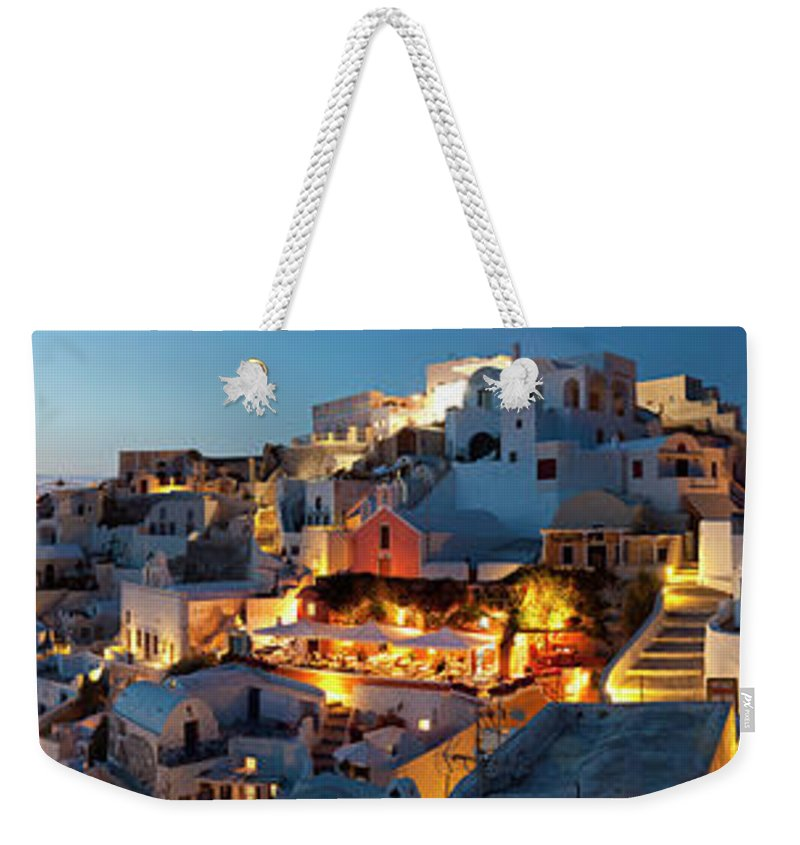 Tranquility Weekender Tote Bag featuring the photograph Dusk, Oia Santorini Cyclades Islands by Peter Adams