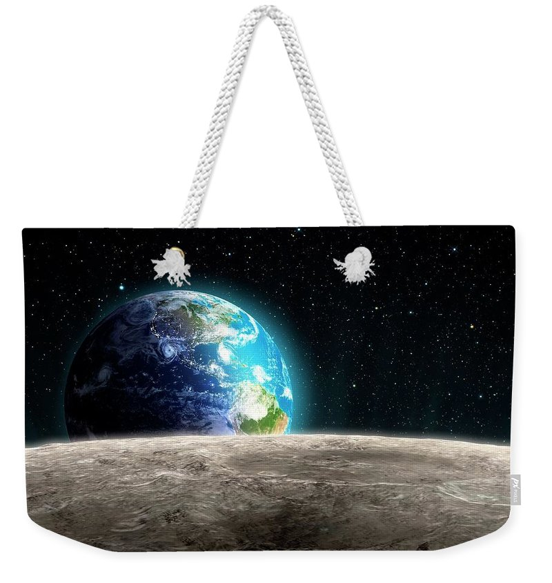 Shadow Weekender Tote Bag featuring the digital art Earthrise From The Moon, Artwork by Andrzej Wojcicki