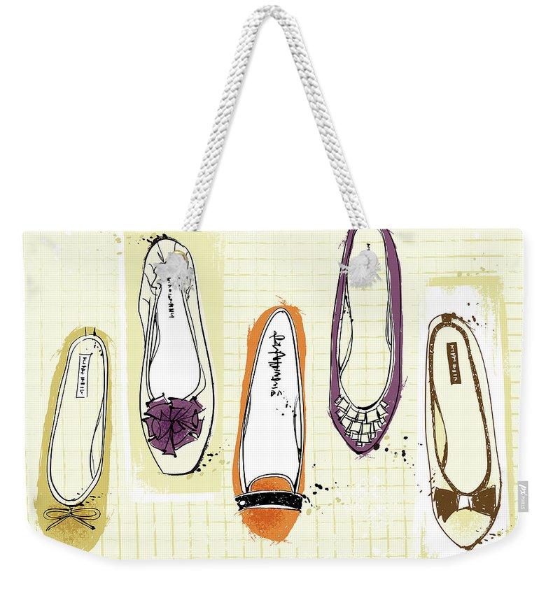 Purple Weekender Tote Bag featuring the digital art Feminine Shoes by Eastnine Inc.