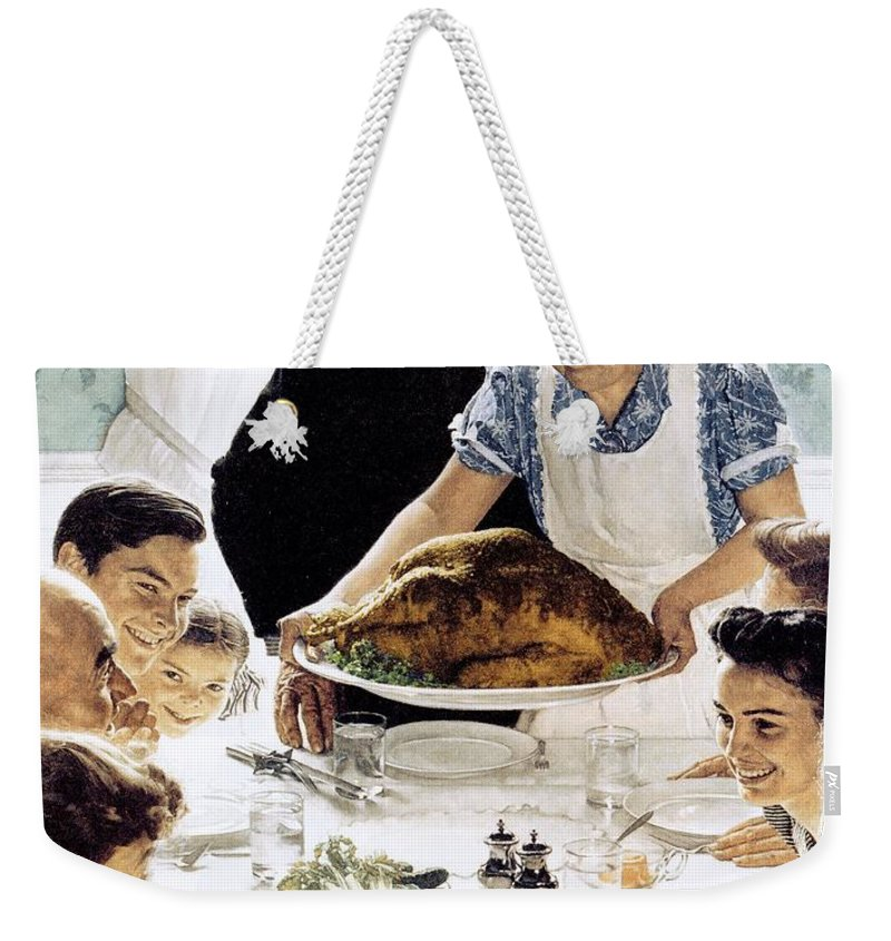 Family Weekender Tote Bag featuring the drawing Freedom From Want 1 by Norman Rockwell