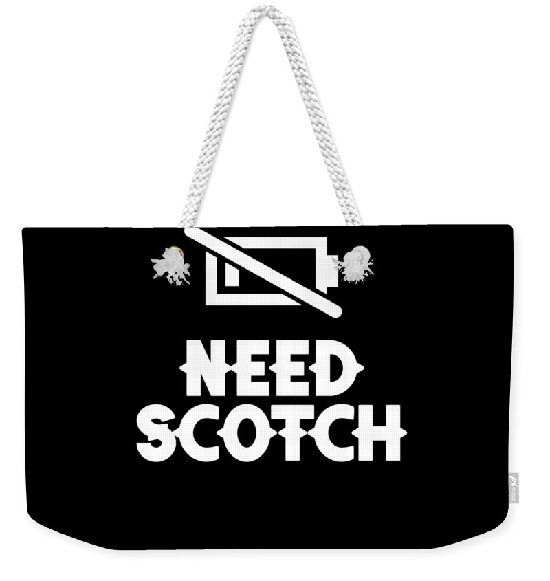 Old-fashioned Weekender Tote Bag featuring the digital art Funny Scotch Whiskey Whisky Apparel 1 by Michael S