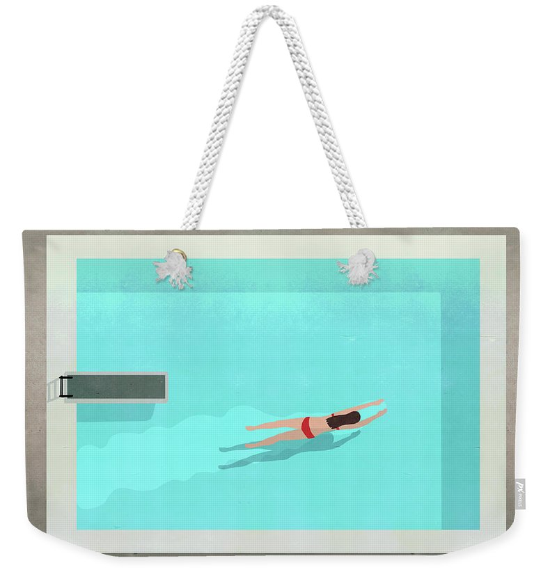 Recreational Pursuit Weekender Tote Bag featuring the digital art Illustration Of Woman Swimming In Pool by Malte Mueller