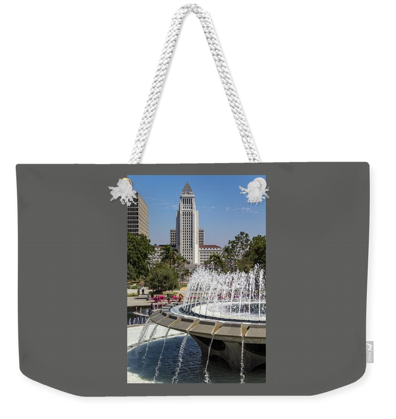 Arthur J. Will Weekender Tote Bag featuring the photograph Los Angeles City Hall And Arthur J. Will Memorial Fountain by Roslyn Wilkins