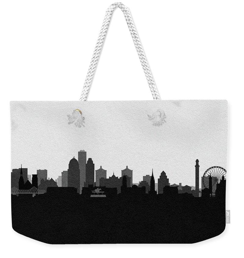 Louisville Weekender Tote Bag featuring the digital art Louisville Cityscape Art by Inspirowl Design