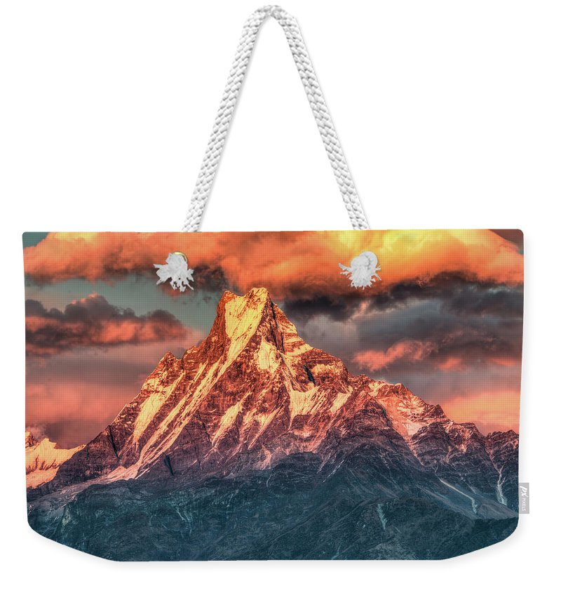 Tranquility Weekender Tote Bag featuring the photograph Machapuchare Mountain, Fish Tail In by Emad Aljumah