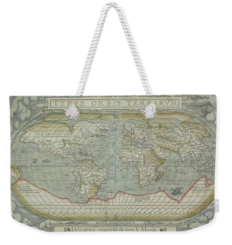 South America Weekender Tote Bag featuring the photograph Map Of The World by Hemera Technologies