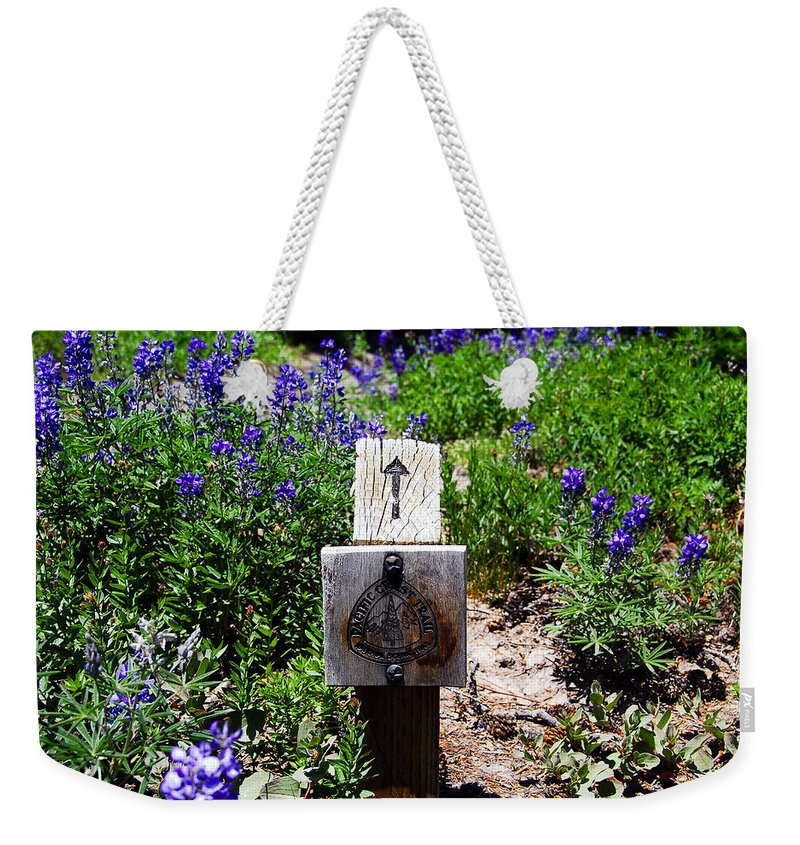 Pacific Crest Trail Weekender Tote Bag featuring the photograph Pacific Crest Trail Marker by David Lee Thompson