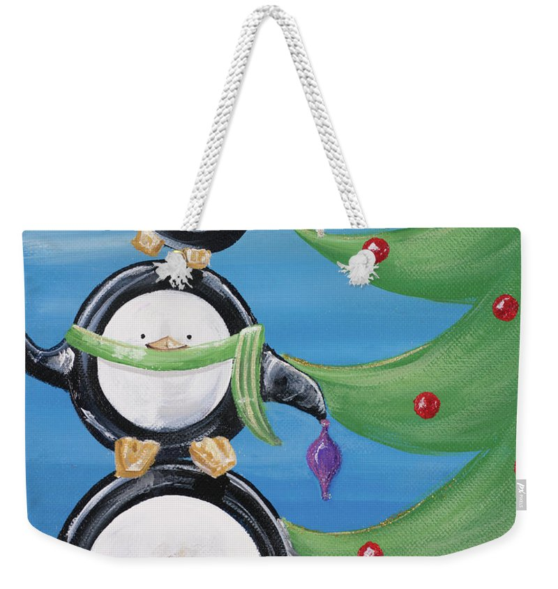 Penguins Weekender Tote Bag featuring the painting Paddison And Friends Iv by Gina Ritter