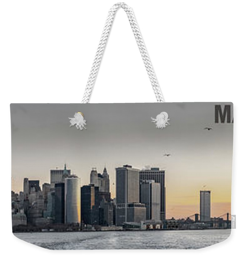 America Weekender Tote Bag featuring the photograph Panoramic View Of Manhattan Island And The Brooklyn Bridge At Su by PorqueNo Studios