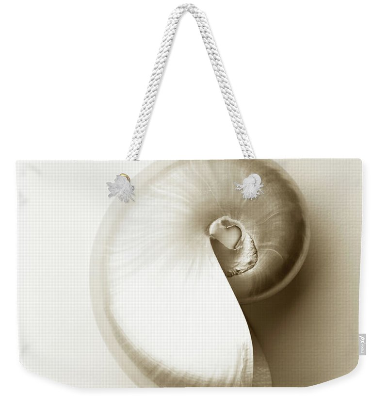 Animal Shell Weekender Tote Bag featuring the photograph Pearlised Nautilus Sea Shell, Close-up by Finn Fox