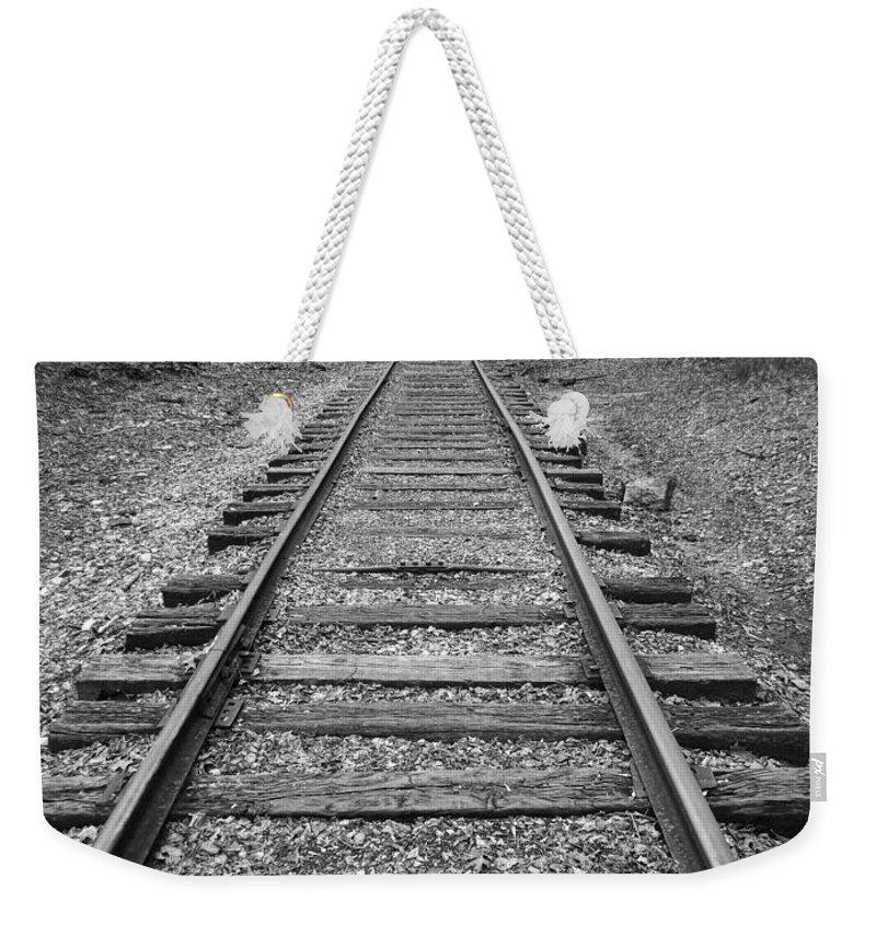 Rails Weekender Tote Bag featuring the digital art Railroad Tracks by Phil Perkins