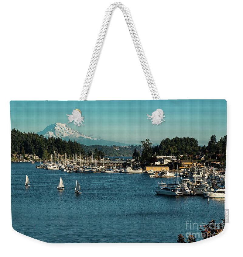 Sailboats At Gig Harbor Marina With Mount Rainier In The Background Weekender Tote Bag featuring the photograph Sailboats At Gig Harbor Marina With Mount Rainier In The Background by Yefim Bam