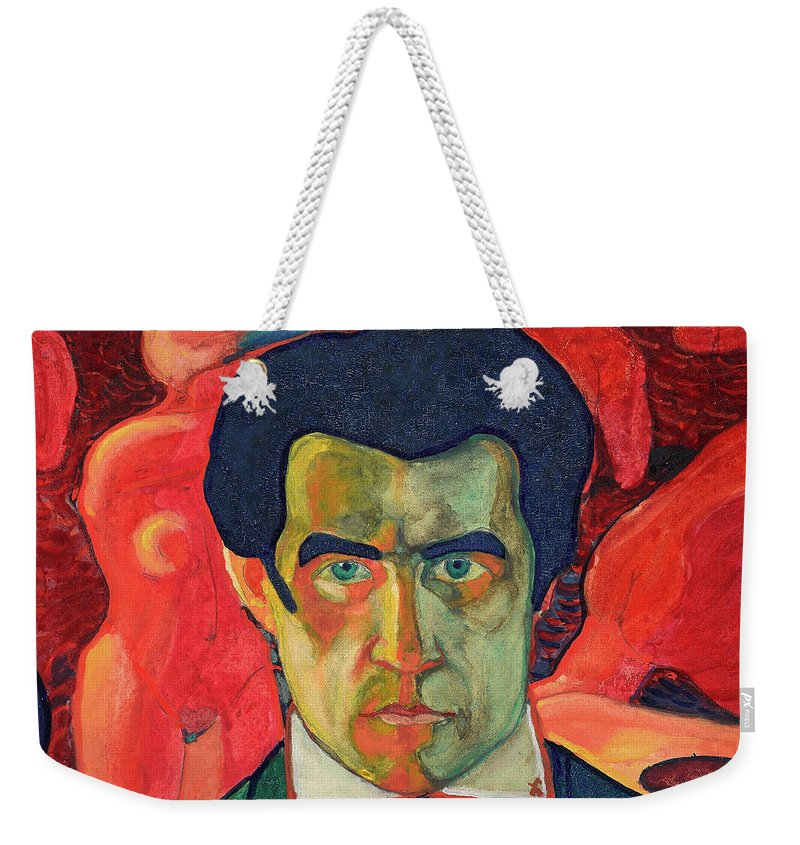 Kazimir Malevich Self Portrait Weekender Tote Bag featuring the painting Self Portrait, 1910 by Kazimir Malevich