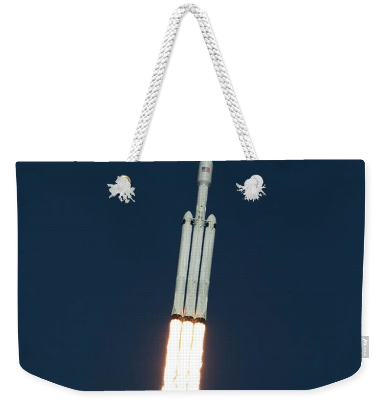 Dont Panic Weekender Tote Bag featuring the photograph Spacex Falcon Heavy Demo Flight - Liftoff by Filip Hellman