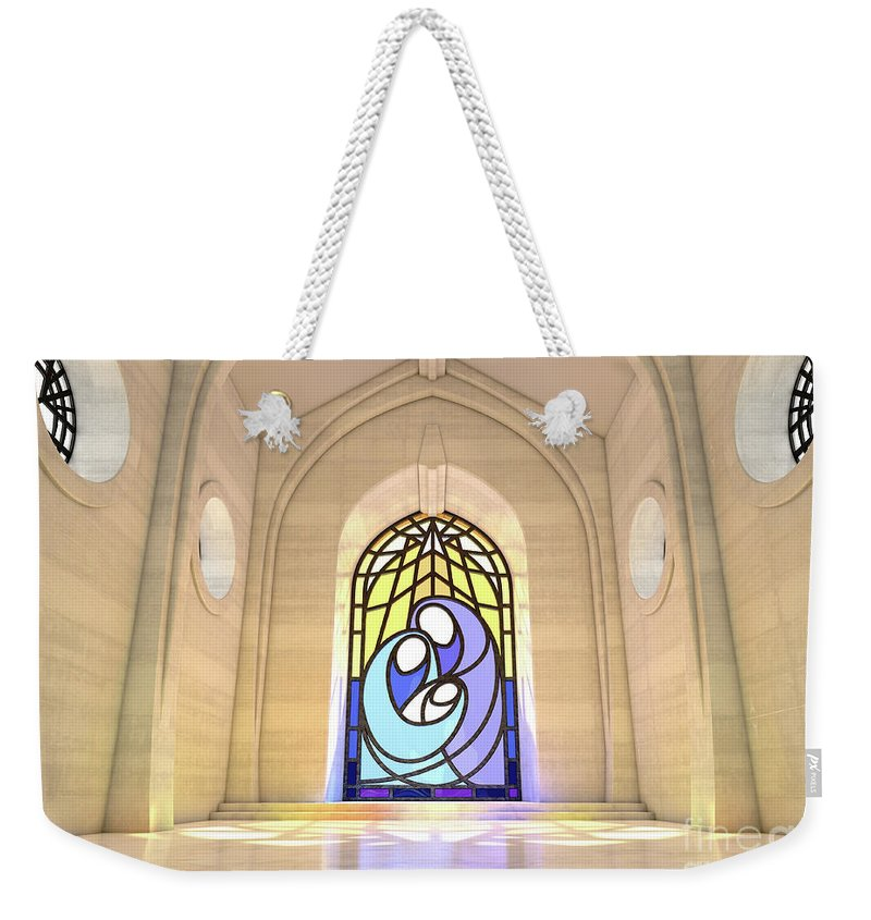 Nativity Weekender Tote Bag featuring the digital art Stained Glass Window Nativity Scene by Allan Swart
