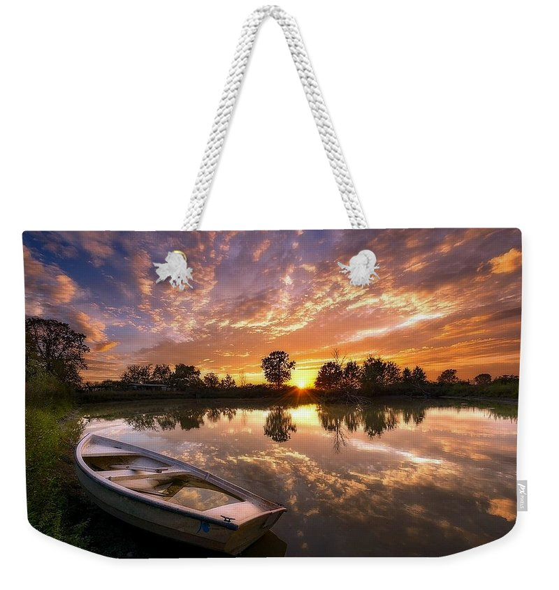 Photography Weekender Tote Bag featuring the photograph Sunset Boat by Dawn Van Doorn