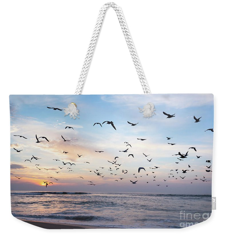 Sunset Weekender Tote Bag featuring the photograph Sunset On The Beach by Hanna Tor