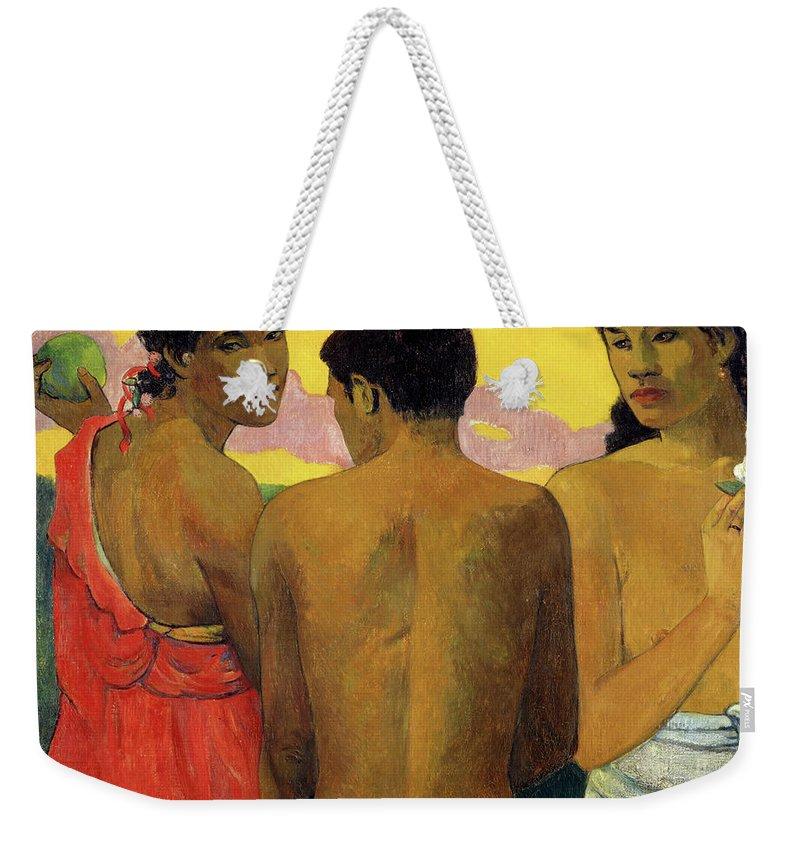 Paul Gauguin Weekender Tote Bag featuring the painting Three Tahitians, 1899 by Paul Gauguin