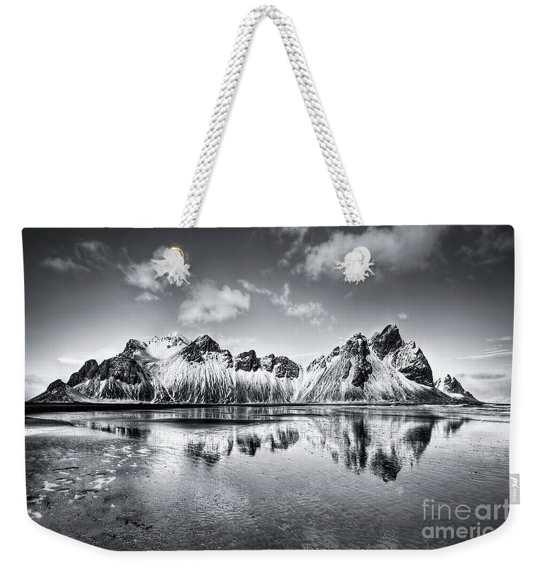 Vestrahorn Weekender Tote Bag featuring the photograph Where The Mountains Meet The Sky by Evelina Kremsdorf