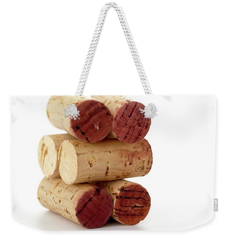 White Background Weekender Tote Bag featuring the photograph Wine Corks Serie Of 28 Images by Luso