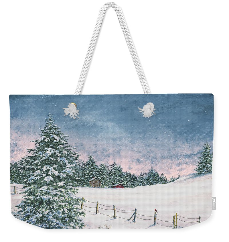 Winter Weekender Tote Bag featuring the painting Winter Mornings by James Redding