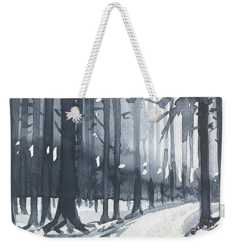 Trees Weekender Tote Bag featuring the painting Winter Trees by Luisa Millicent