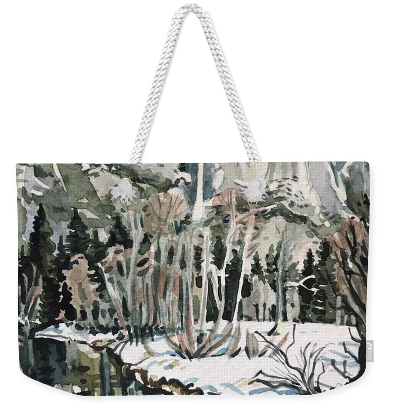 Yosemite Weekender Tote Bag featuring the painting Yosemite Falls River by Luisa Millicent