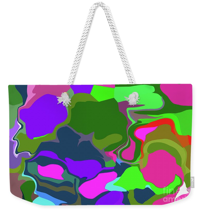 Walter Paul Bebirian Weekender Tote Bag featuring the digital art 10-19-2008abcde by Walter Paul Bebirian