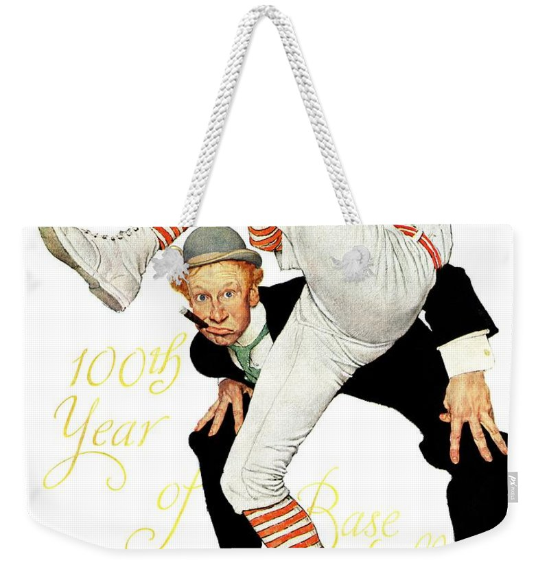 Anniversaries Weekender Tote Bag featuring the drawing 100th Anniversary Of Baseball by Norman Rockwell
