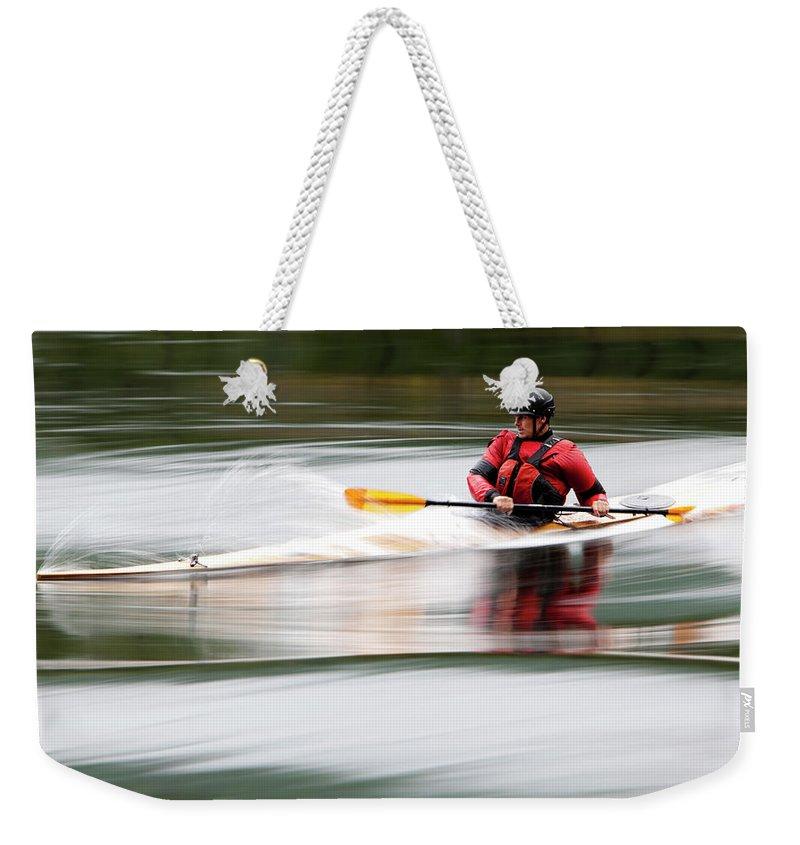 Sports Helmet Weekender Tote Bag featuring the photograph Cedar Strip Kayak by Steve Glass