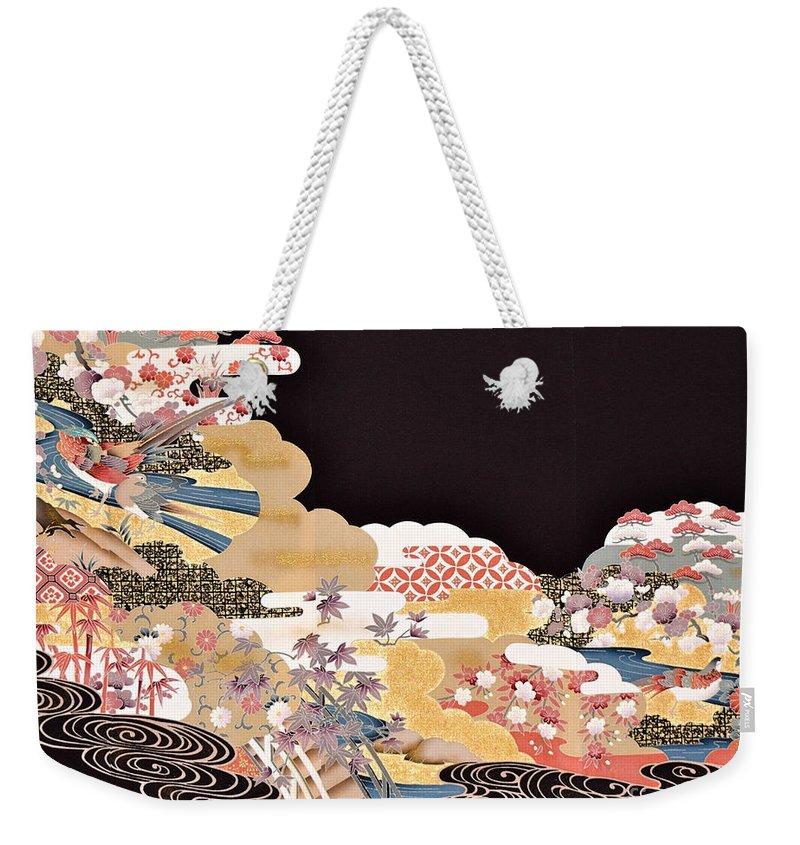 Weekender Tote Bag featuring the digital art Spirit of Japan T65 by Miho Kanamori