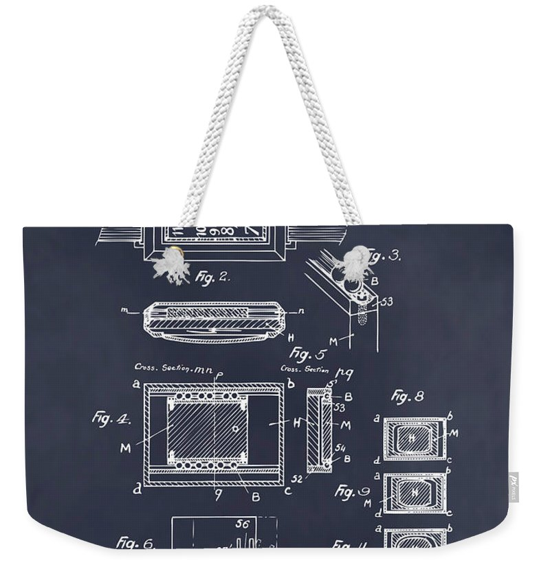 Art & Collectibles Weekender Tote Bag featuring the drawing 1930 Leon Hatot Self Winding Watch Patent Print Blackboard by Greg Edwards