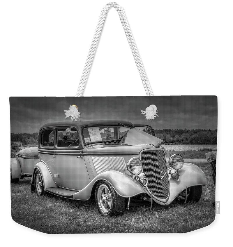 2019 Weekender Tote Bag featuring the digital art 1933 Ford Tudor Sedan With Trailer by Ken Morris