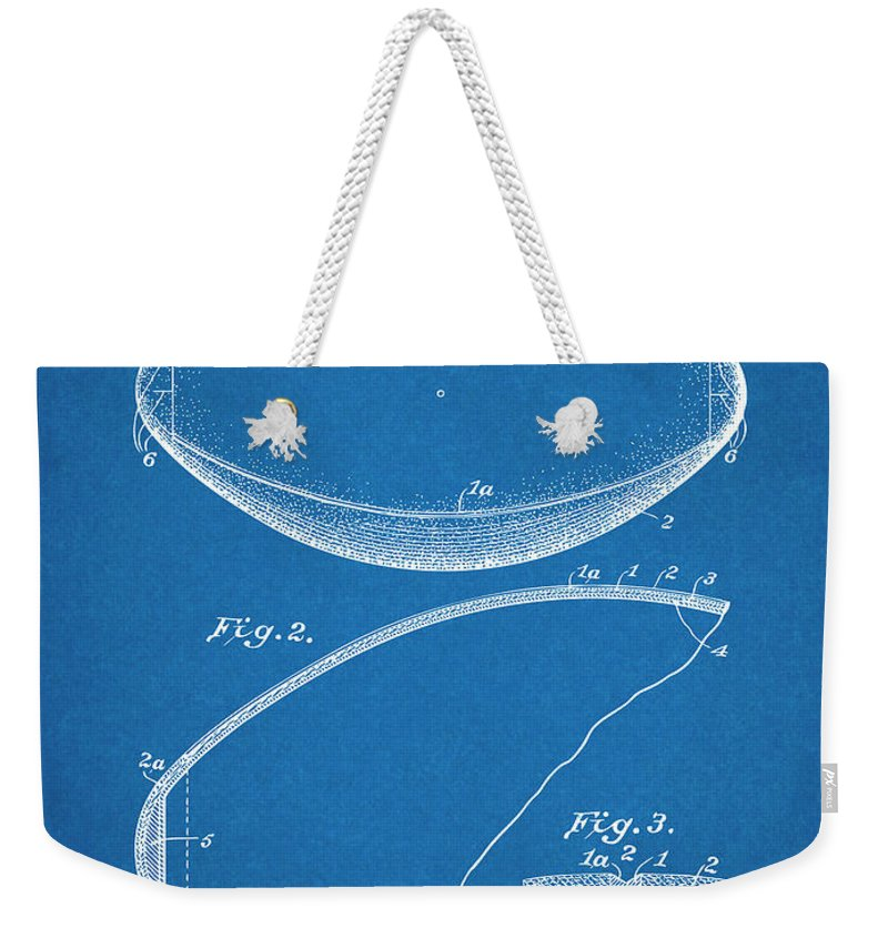 1936 Reach Football Patent Print Weekender Tote Bag featuring the drawing 1936 Reach Football Blueprint Patent Print by Greg Edwards