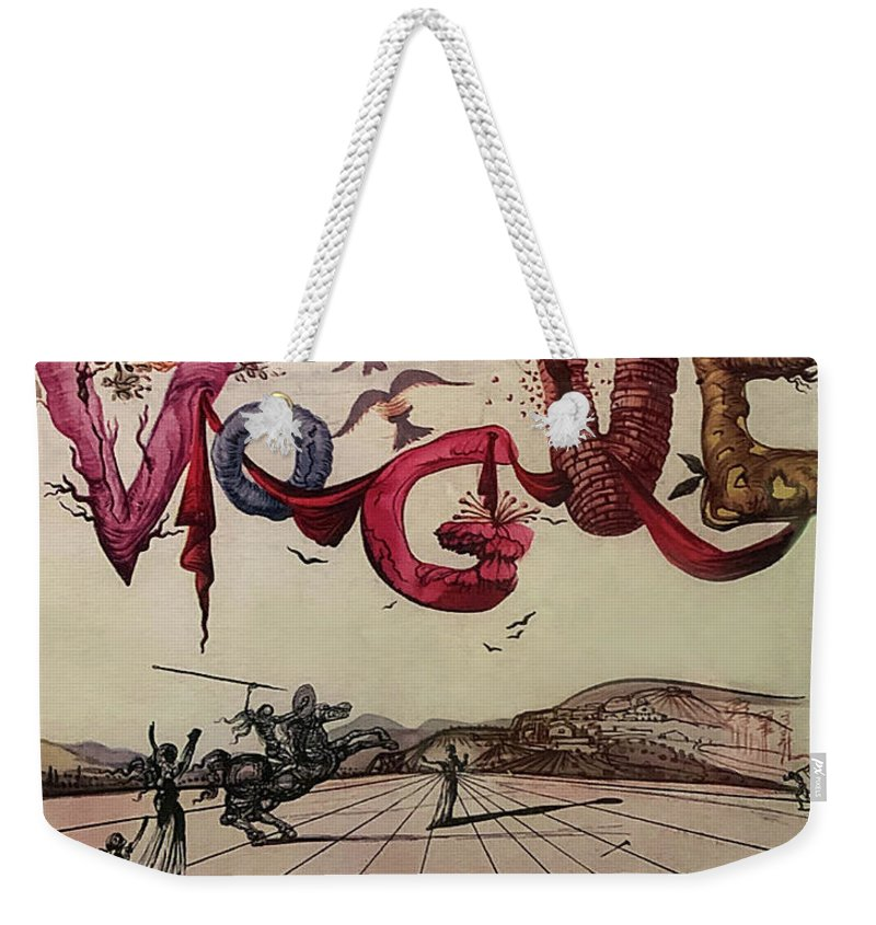 1940s Weekender Tote Bag featuring the drawing 1944 Cover of Vogue Magazine Dali Illustration by Marilyn Hunt