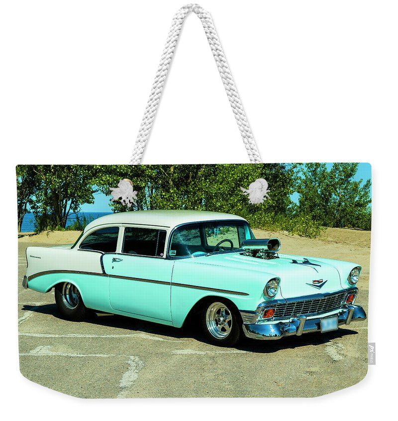 1956 Weekender Tote Bag featuring the photograph 1956 Chevrolet Custom Model 2010 by Performance Image