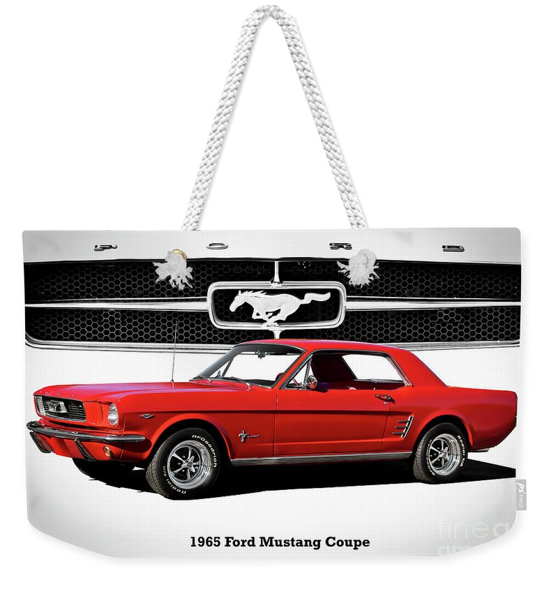 Automobile Weekender Tote Bag featuring the photograph 1965 Mustang 289 Coupe by Dave Koontz