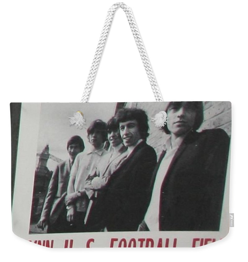 Pop Art Weekender Tote Bag featuring the photograph 1965 Rolling Stones Poster First American Tour by Chuck Kuhn