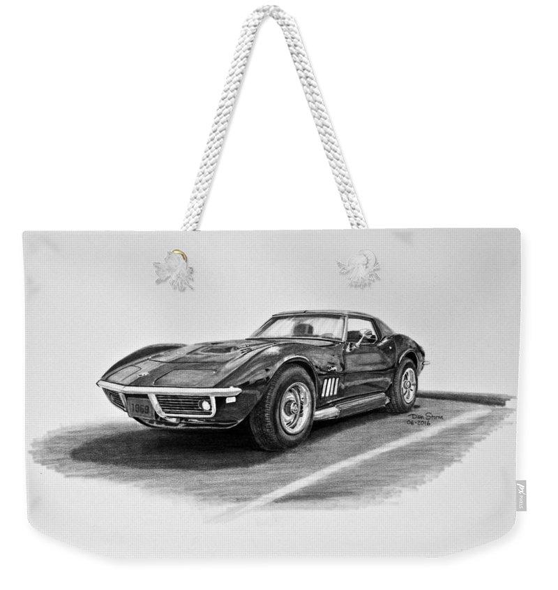 1969 Chevrolet Corvette Stingray Graphite Weekender Tote Bag featuring the digital art 1969 Chevrolet Corvette Stingray Graphite by Brahaman Dhumsi