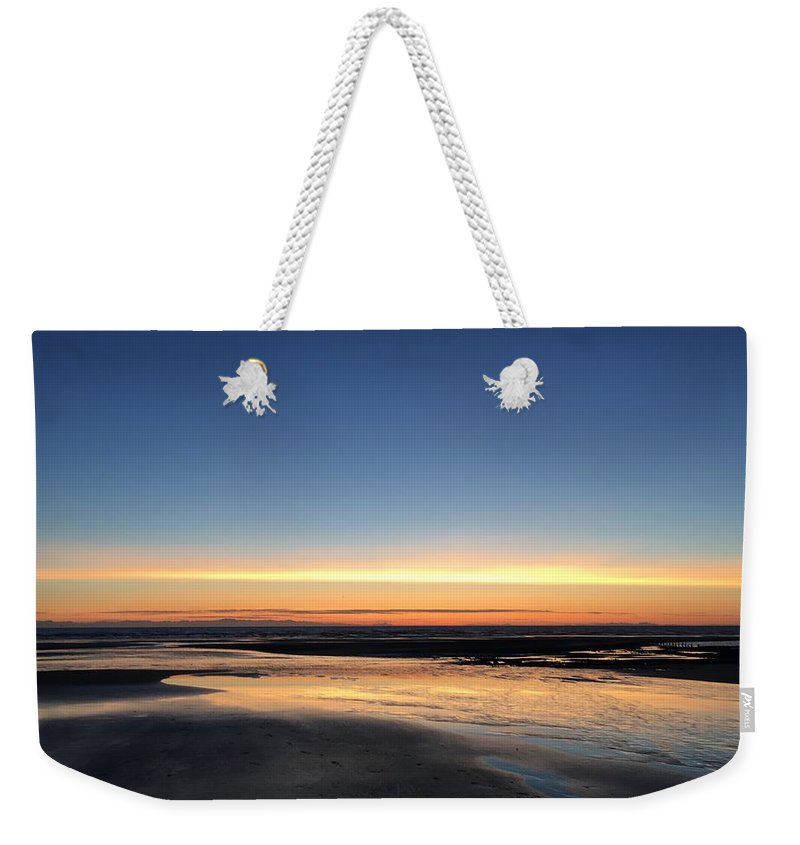 Weekender Tote Bag featuring the photograph Beach Sunset, Blackpool, Uk 09/2017 by Michael Kane