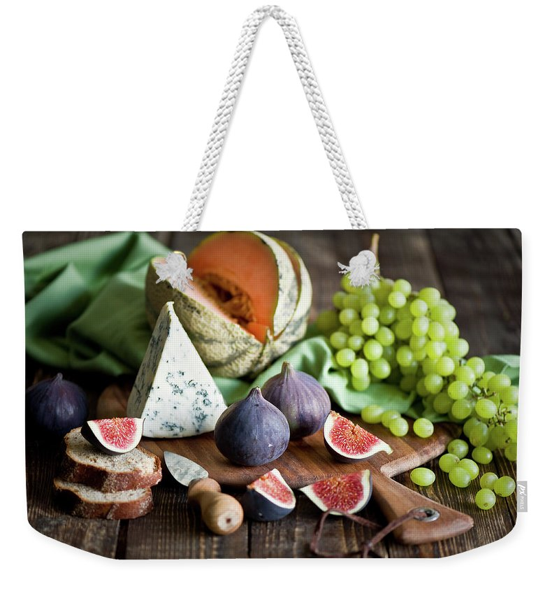 Large Group Of Objects Weekender Tote Bag featuring the photograph Cheese Board by Verdina Anna