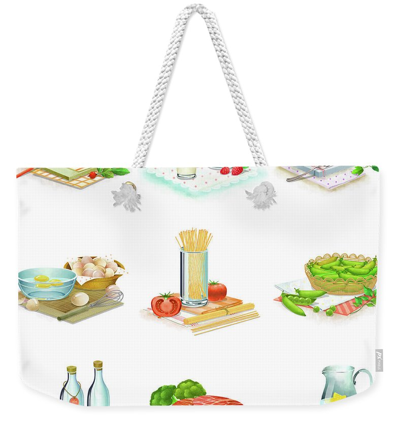 Milk Weekender Tote Bag featuring the digital art Close-up Of Food Stuff by Eastnine Inc.