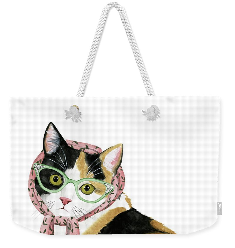 Pets Weekender Tote Bag featuring the painting Cool Cat I by Grace Popp