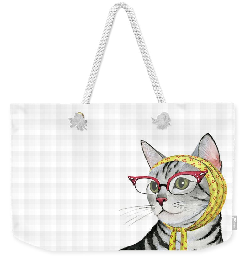 Pets Weekender Tote Bag featuring the painting Cool Cat IIi by Grace Popp