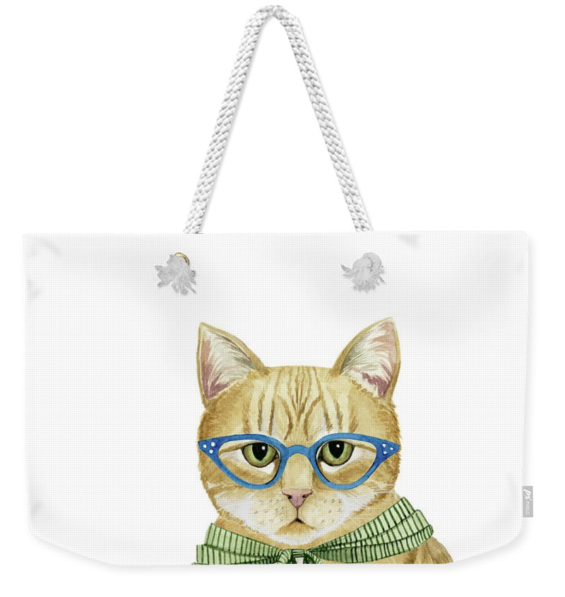 Pets Weekender Tote Bag featuring the painting Cool Cat Iv by Grace Popp